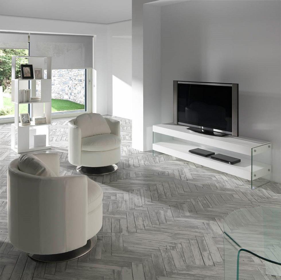 Mesa de tv de cristal lateral for Mueble comedor minimalista