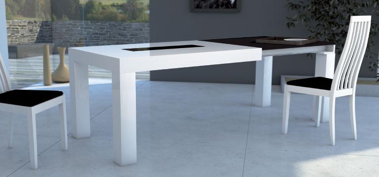 Mia home mesa de comedor extensible en madera natural for Mesa de comedor redonda extensible blanca