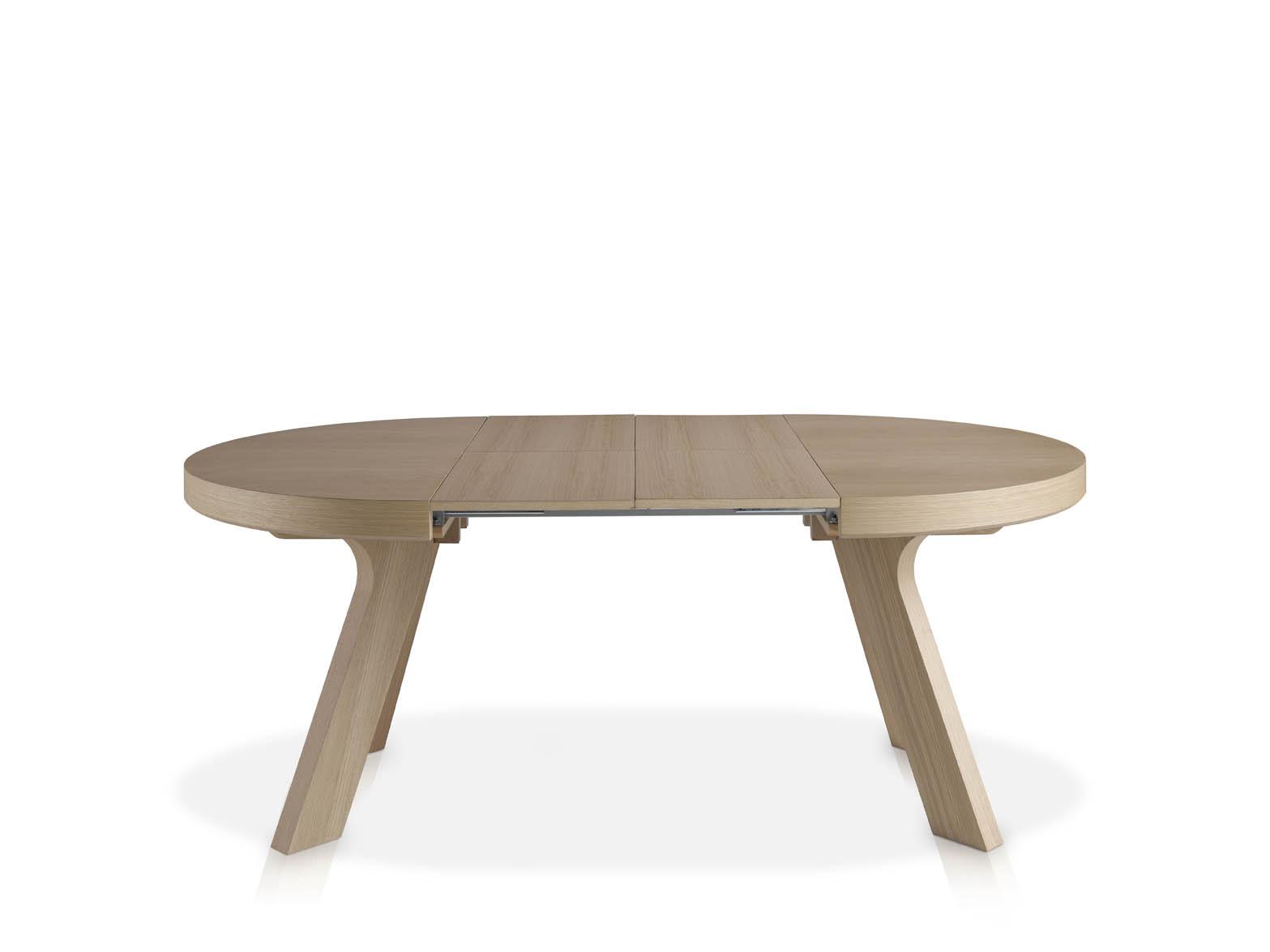Mesa redonda extensible de madera for Mesas de comedor redondas extensibles de madera