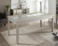 Mesa de comedor madera natural decapada - Mesa de comedor madera natural decapada y espejos