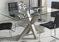 Mesa de comedor de cristal patas acero cruzadas - Mesa de comedor con patas de acero pulido Cristal incluido