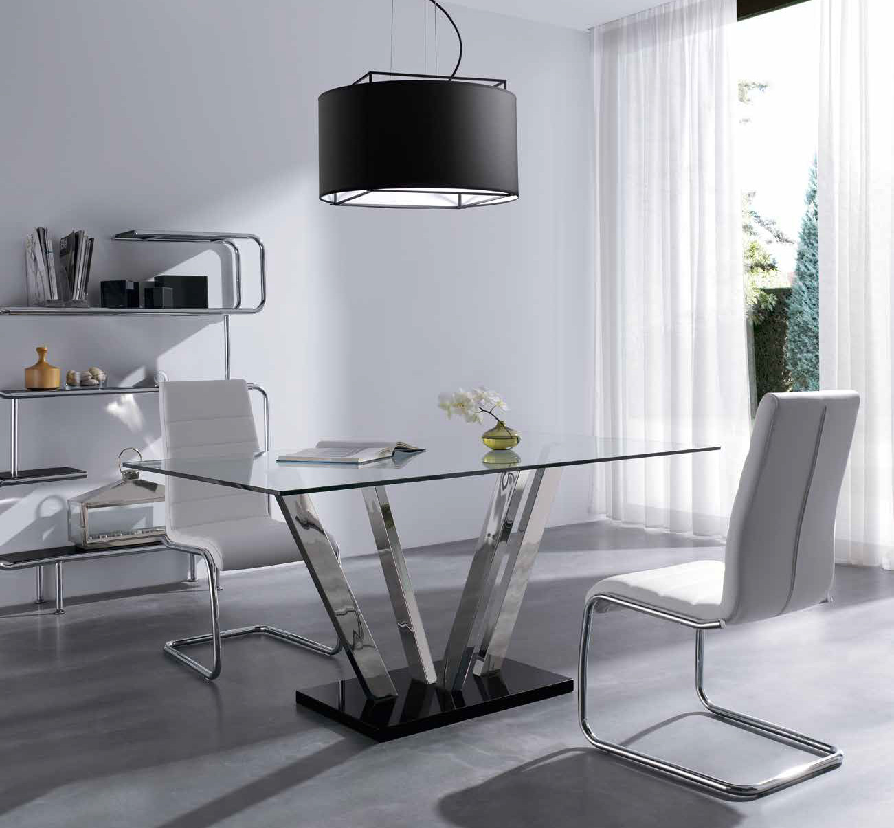 mesa de comedor rectangular extensible en cristal templado