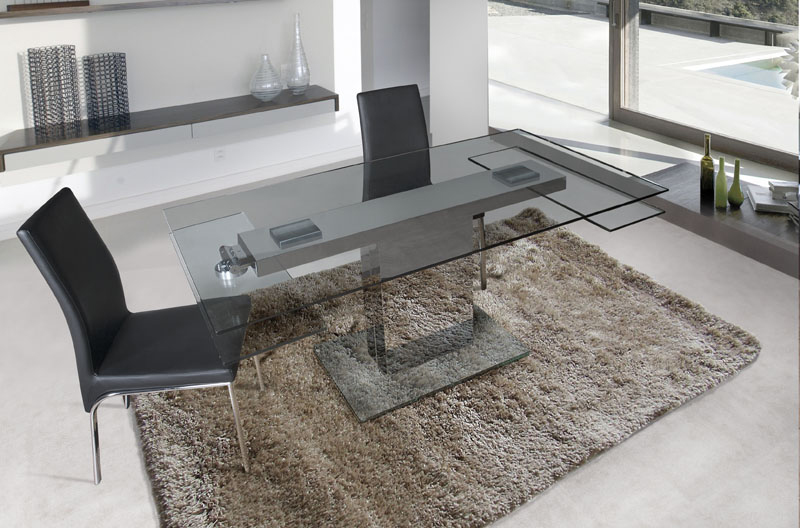 Mesa de cristal extensible transparente - Mesa de comedor extensible