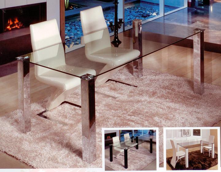 Mesa moderna rectangular de cristal fija mesas de comedor for Cristal para mesa rectangular