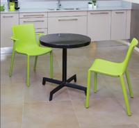 Mesa interior exterior de diseño pata central  - Mesa de aluminio minimalista pata central redonda