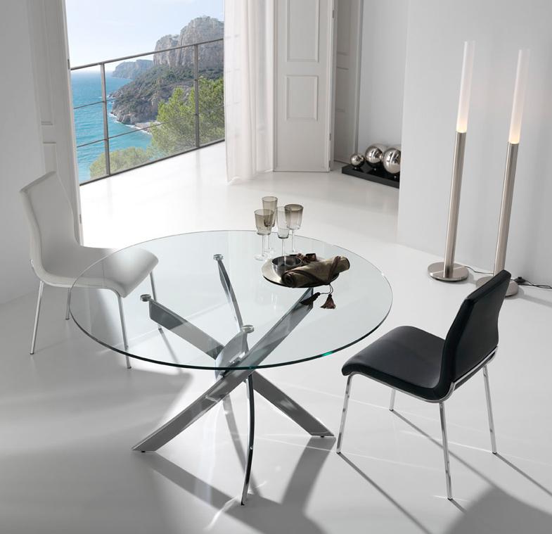 Mesa de comedor de acero - Mesa redonda de cristal ...