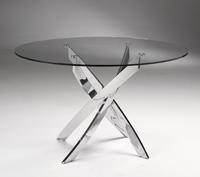Mesa redonda de acero y cristal TOZU - Mesa redonda de acero y cristal TOZU