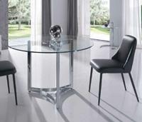 Mesa comedor redonda en cristal templado