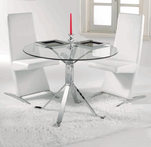 Mia home mesa de comedor redonda de tapa cristal - Mesa comedor redonda cristal ...