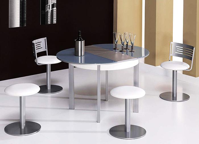 Mesa rotonda cristal cocina y office mesas y sillas de - Mesa de mimbre y cristal ...