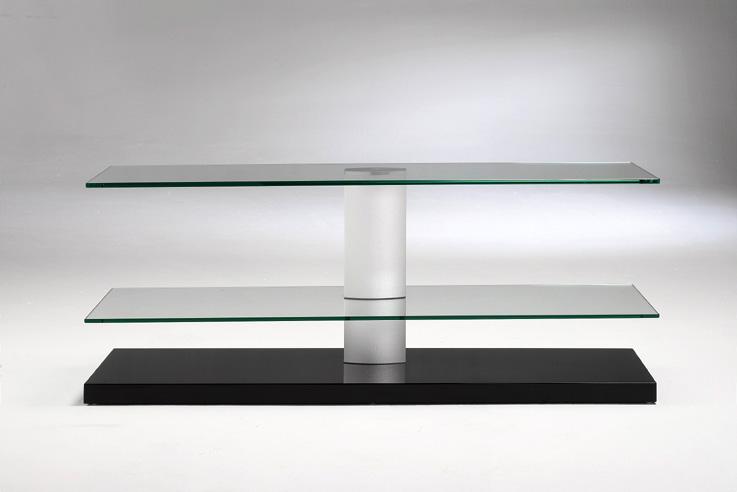 Mesa de tv de acero y cristal mesa tv muebles de interior - Mesas de cristal y acero ...