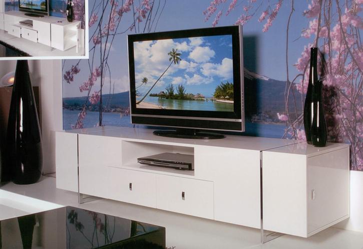 Mesa para tv moderna modrest soria modern walnut for Mesas para tv modernas