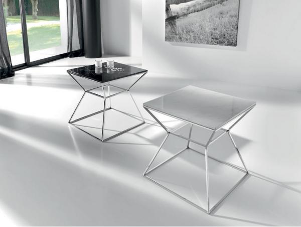 Mesa auxiliar moderna con tablero de mármol - Mesa baja auxiliar moderna con tablero de mármol