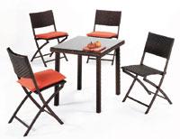 Mesa de ratán sintético cuadrada pequeña y cuatro sillas para exterior