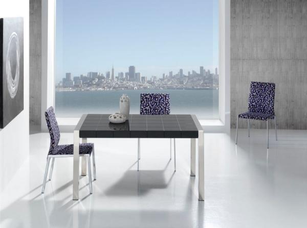 Mesa extensible con tablero de cristal cuadriculado mesas - Comoda mesa extensible ...