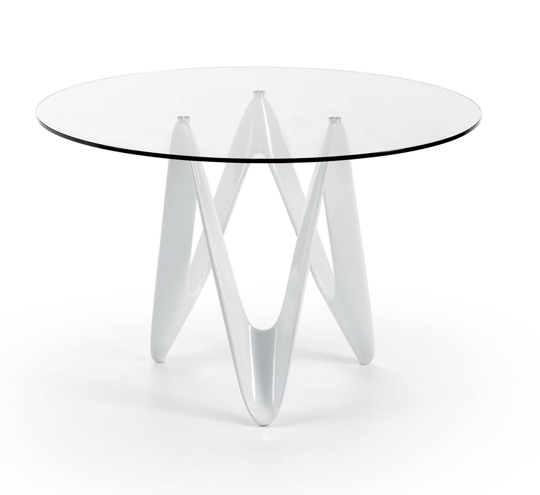 Mesa redonda de vidrio mesas de comedor muebles de - Mesa comedor cristal redonda ...
