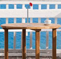 Mesa redonda de madera teca REVILLA