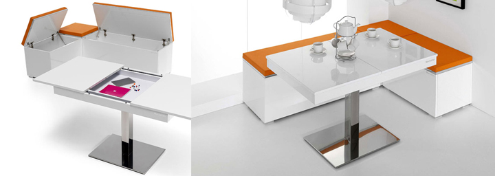 Mesas altas de cocina modernas en varios colores for Mesa esquinera redonda