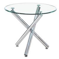 Mesa redonda de cristal y metal - Mesa de comedor redonda