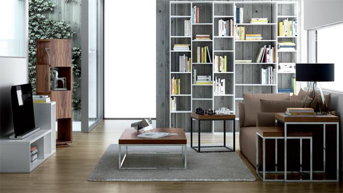 Mesa de centro moderna madera metal muebles madrid - Mesas salon modernas ...