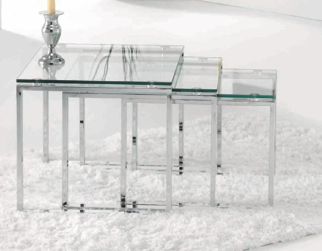 Mesas nido de cristal y metal transparente - Mesas nido metacrilato ...