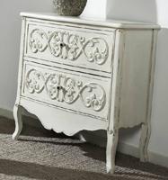 Mueble auxiliar de madera tallada blanco roto