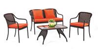 Set de sofá de exterior 2 plazas y dos sillones, mesa, cojines modelo MILER