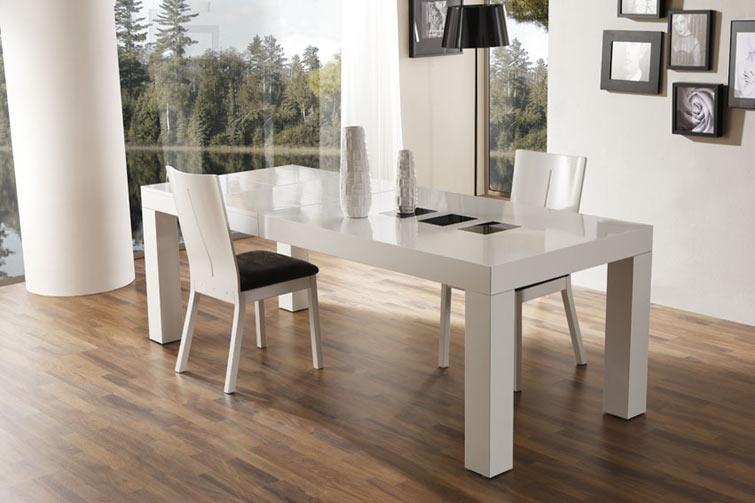 Mesa extensible blanca para comedor mesas de comedor for Mesas de comedor madera blanca