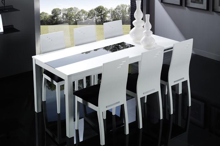 Mesa blanca de comedor con cristal y extensible mesas de - Mesa comedor blanca lacada ...