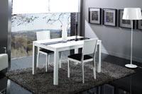 Mesa blanca de comedor con cristal y extensible