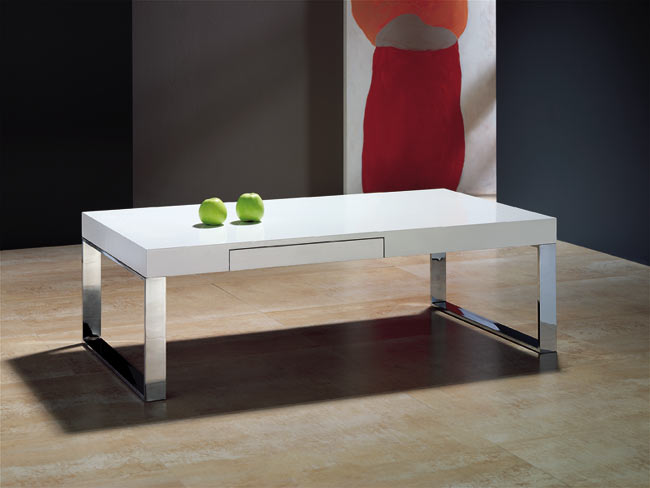 Mesa de sof blanco lacado for Espejo joyero conforama