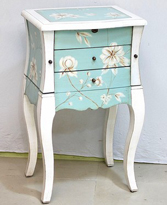 Joyero tonos azules madera de pino - Joyero tonos azules de pino con espejo CARPE