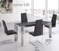 Mesa extensible Nerea-130 - Mesa extensible de aluminio color cromo.