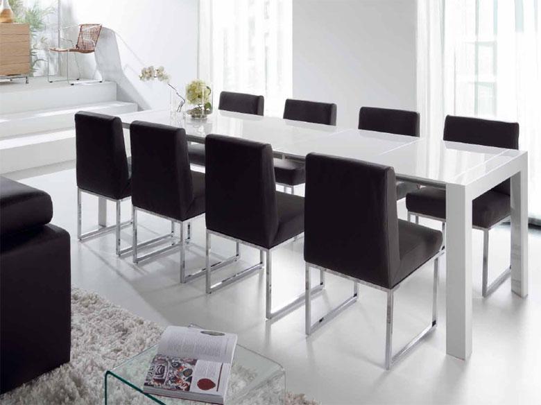 Mesa blanca lacada extensible modelo portonuovo mesas de - Mesa comedor blanca lacada ...