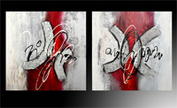 Set de dos cuadros en oleo abstracto 3