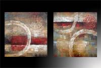 Set de dos cuadros en oleo abstracto circulos