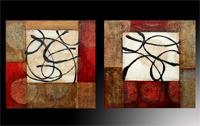 Set de dos cuadros en oleo abstracto rayas