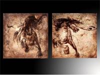 Set de dos cuadros figura caballos