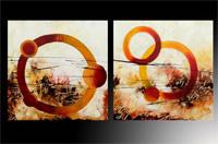 Set de dos cuadros oleo abstracto círculos 2
