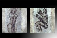 Set de dos cuadros figuras hombre y mujer