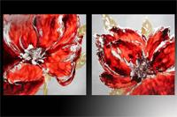 Set de 2 cuadros flores rojas