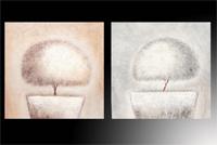 Set de 2 cuadros en oleo macetas tonos claros