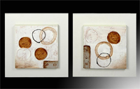 Set de dos oleos modernos círculos 4
