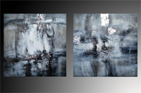 Set de dos cuadros en oleo tonos grises y azules