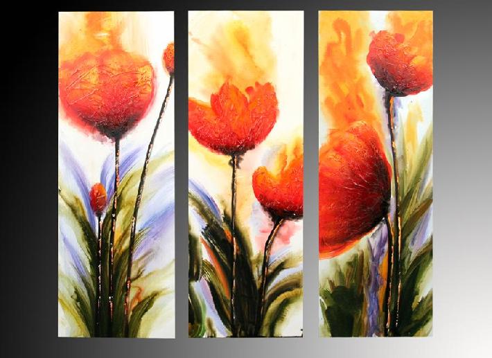 Cuadros tripticos con flores al oleo imagui for Cuadros verticales grandes