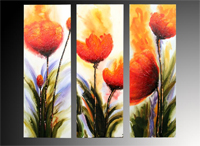 Set de 3 cuadros flores naranjas
