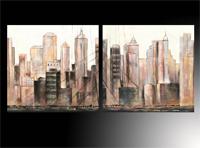 Set de cuadros Oleos rascacielos