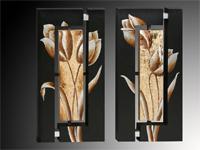 Set de cuadros flores sobre fondo negro