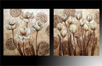 Set de dos cuadros en oleo flores doradas
