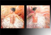 Set de 2 cuadros en oleo de bailarinas